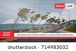 live tv broadcast of tornado... | Shutterstock .eps vector #714983032