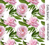 seamless vector peonies pattern | Shutterstock .eps vector #714987892