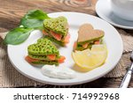 pancakes of spinach. valentine...   Shutterstock . vector #714992968