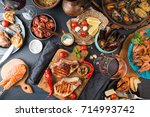 overhead of dinner table.... | Shutterstock . vector #714993742