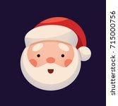santa claus face on dark... | Shutterstock .eps vector #715000756
