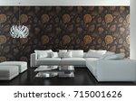 modern bright interiors. 3d... | Shutterstock . vector #715001626