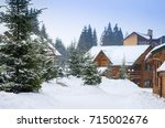 christmas winter landscape  old ... | Shutterstock . vector #715002676