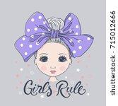 cute girl. girls rule | Shutterstock .eps vector #715012666