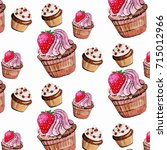 muffins and cupcakes with... | Shutterstock .eps vector #715012966