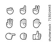 Hand Gestures. Line Icons Set....