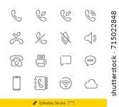 phone communication icons...   Shutterstock .eps vector #715022848