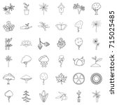 berry icons set. outline style...   Shutterstock .eps vector #715025485