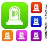 gravestone with rip text set... | Shutterstock .eps vector #715025662