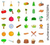 Forest Icons Set. Cartoon Styl...