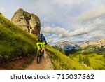 tourist cycling in cortina d... | Shutterstock . vector #715037362
