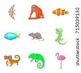 earth fauna icons set. cartoon... | Shutterstock .eps vector #715039132