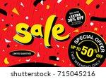 bright banner template design.... | Shutterstock .eps vector #715045216