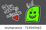 sticker funny lime green microbe   Shutterstock .eps vector #715045462