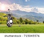golf equipment   golf ball ... | Shutterstock . vector #715045576