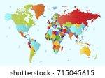 color world map. | Shutterstock .eps vector #715045615