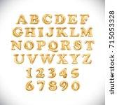 vector metallic gold balloons... | Shutterstock .eps vector #715053328