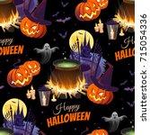 happy halloween illustration... | Shutterstock .eps vector #715054336