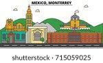 mexico  monterrey. city skyline ... | Shutterstock .eps vector #715059025