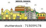 mexico  oaxaca. city skyline ... | Shutterstock .eps vector #715059178