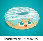 cute donut with white stripes... | Shutterstock .eps vector #715059892
