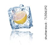 ice cube with lemon isolated on ... | Shutterstock . vector #71506192