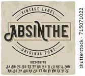 Stock vector vintage label typeface named absinthe good vintage font for any alcohol label design 715071022