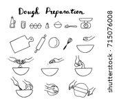 dough preparation icons. doodle ... | Shutterstock .eps vector #715076008