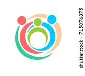 parents hug a child. family logo | Shutterstock .eps vector #715076875