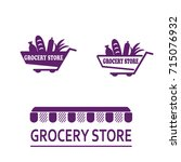 set of logos for a grocery... | Shutterstock .eps vector #715076932