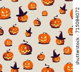 seamless halloween pattern with ... | Shutterstock .eps vector #715084072
