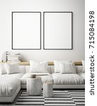 mock up poster frame in... | Shutterstock . vector #715084198