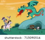 knight and dragon of vector... | Shutterstock .eps vector #715090516