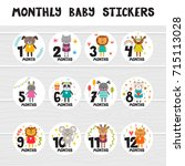 monthly baby stickers for... | Shutterstock .eps vector #715113028