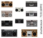 boombox icons. vector... | Shutterstock .eps vector #715118992