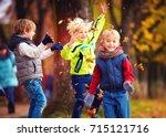 happy friends  schoolchildren... | Shutterstock . vector #715121716