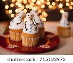 christmas dessert. snowman... | Shutterstock . vector #715123972