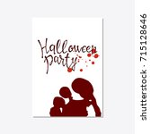 vector set of halloween poster... | Shutterstock .eps vector #715128646