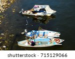 local wooden boats on the nile  ...   Shutterstock . vector #715129066