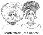 african american pretty girl.... | Shutterstock .eps vector #715130092