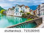 interlaken town with thunersee...