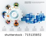 business meeting and... | Shutterstock .eps vector #715135852
