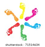 Set Of Colorful Foot Prints...