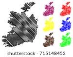 ireland map vector illustration ... | Shutterstock .eps vector #715148452