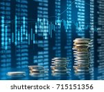 investment concept  coins graph ... | Shutterstock . vector #715151356