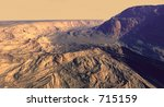 Broken canyon with dustfields - stock photo