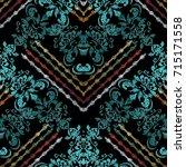 vintage striped floral... | Shutterstock .eps vector #715171558