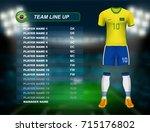 brazil soccer jersey kit with... | Shutterstock .eps vector #715176802
