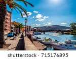 view of ancient village of bosa ... | Shutterstock . vector #715176895