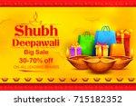 illustration of burning diya on ... | Shutterstock .eps vector #715182352